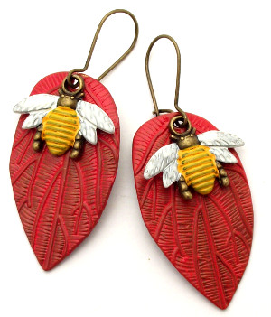 Red Leaf/Honey Bee Earrings
