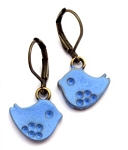 Small Blue Bird Earrings