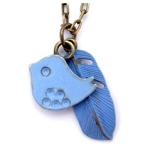 Blue Bird and Feather Necklace