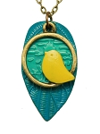 Chartreuse Bird Long Necklace