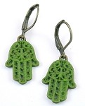 Green Hamsa Earrings