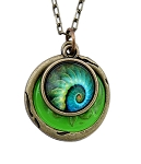 Swirl Peacock Feather Necklace
