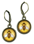 Yellow Honey Bee Earrings