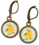 Yellow Bird Glass Photo Earrings