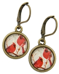 Cardinal Glass Photo Earrings