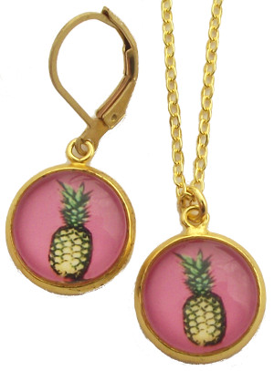 Pineapple Glass Photo Earrings