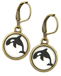 Orca Glass Photo Earrings