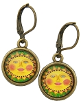 Yellow Sun Glass Photo Earrings