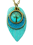 Turquoise Tree Glass Photo Long Necklace