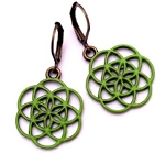 Green Seed of Life Earrings