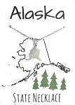 Alaska State Necklace Silver