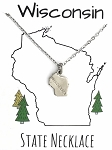 Wisconsin State Necklace Silver