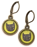 Green Cat Photo Glass Earrings