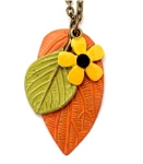 Orange Leaf, Yellow Flower Necklace