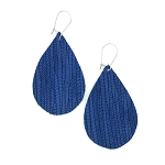 Blue Leather Teardrop Earring