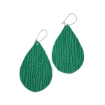 Emerald Green Leather Teardrop Earring