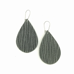 Grey Leather Teardrop Earring