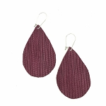 Plum Leather Teardrop Earring