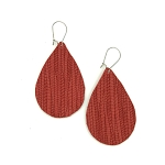 Red Leather Teardrop Earring