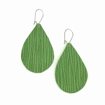 Sage Green Leather Teardrop Earring