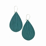 Teal Leather Teardrop Earring