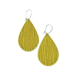 Yellow Leather Teardrop Earring