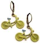 Green Bike Earrings