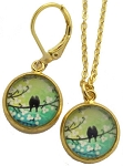 Birds on Wire Glass Photo Earrings