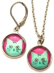Pink Cat Photo Glass Earrings