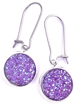Purple Druzy Earrings