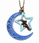 Blue Moon and Star Necklace