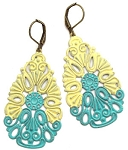 Turquoise and Yellow Filagree Earrings