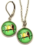 Birds on a Wire Glass Photo Earrings