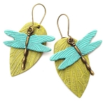 Green Leaf/Turq Dragonfly Earrings