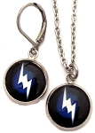 Lightening Bolt Glass Photo Earrings