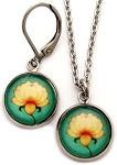 Lotus Flower Glass Photo Earrings