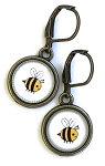 Bumble Bee Photo Glass Earrings