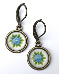 Blue Flower Photo Glass Earrings