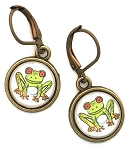 Frog Photo Glass Earrings