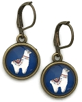 Llama Photo Glass Earrings