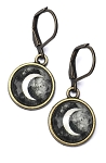 Black Moon Photo Glass Earrings