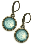 Turquoise Shell Photo Glass Earrings