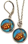 Sea Turtle Glass Photo Earrings