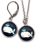 Whale Glass Photo Earrings