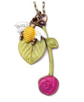 Bee and Rose Necklace 28""