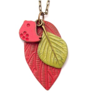 Red Leaf with Bird Necklace