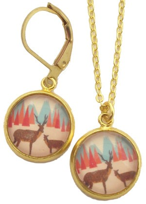 Deer With Mountains Glass Photo Earrings