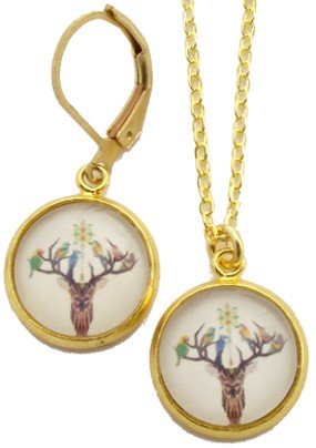 Deer Glass Photo Necklace