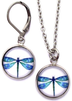 Blue Dragonfly Glass Photo Earrings