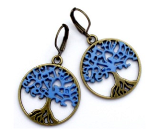 Blue Tree Earrings